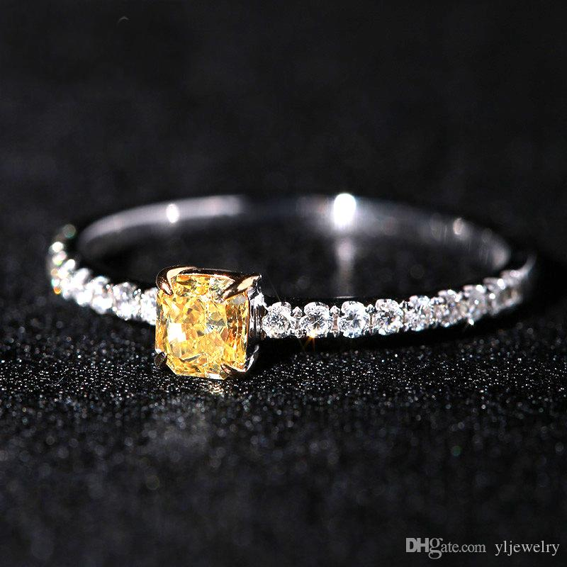Exquisite Small Square 925 Sterling Silver Ring 5.0mm Shining Yellow Cubic Zirconia Rings For Women Engagement Wedding Jewelry Gift XR216