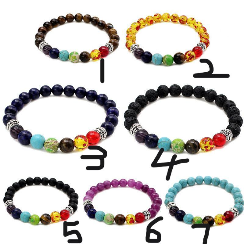 7 Chakra fascino perline catene bracciali gioielli 8MM Lava Rock Tiger Eye protezione da sassi energia di guarigione Stretch braccialetto fai da te per le donne gli uomini