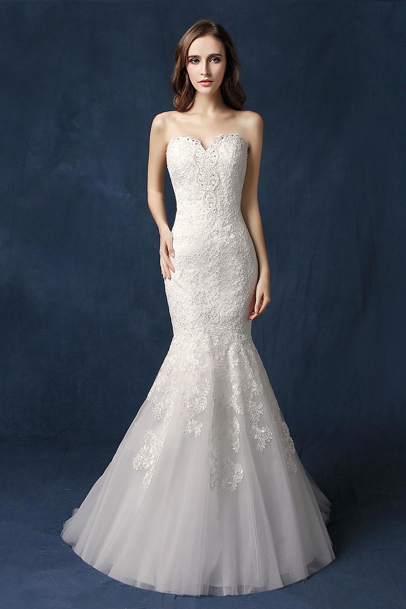 corazón de la vendimia sin tirantes de la sirena vestidos de novia dulce cuello cordón de lujo Vestidos de novia Arabia árabe Dubai Vestido de novia En Stock SW077