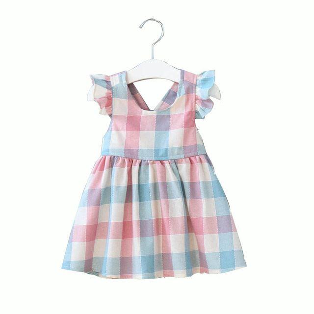 الفتيات فساتين عبر الظهر تحقق القطن الصيف الاطفال بوتيك الملابس الكورية 1-6Y الأطفال كشكش الأكمام اللباس