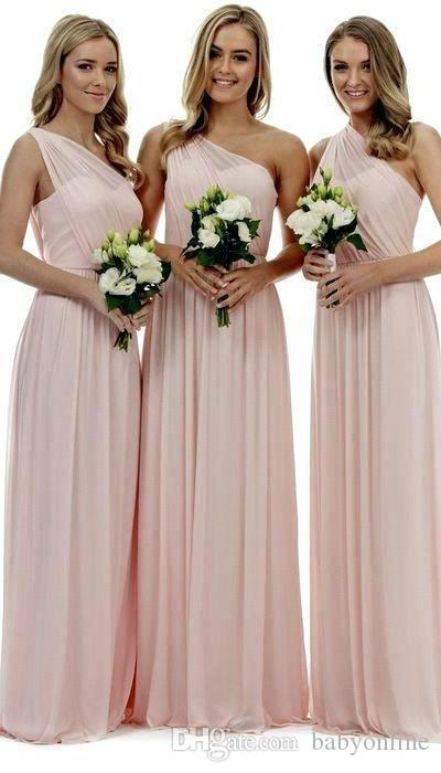 2019 розовые платья одно плечо подружки невесты линия шифон плиссе длиной до пола платья подружки невесты для летней свадьбы страны BM0809