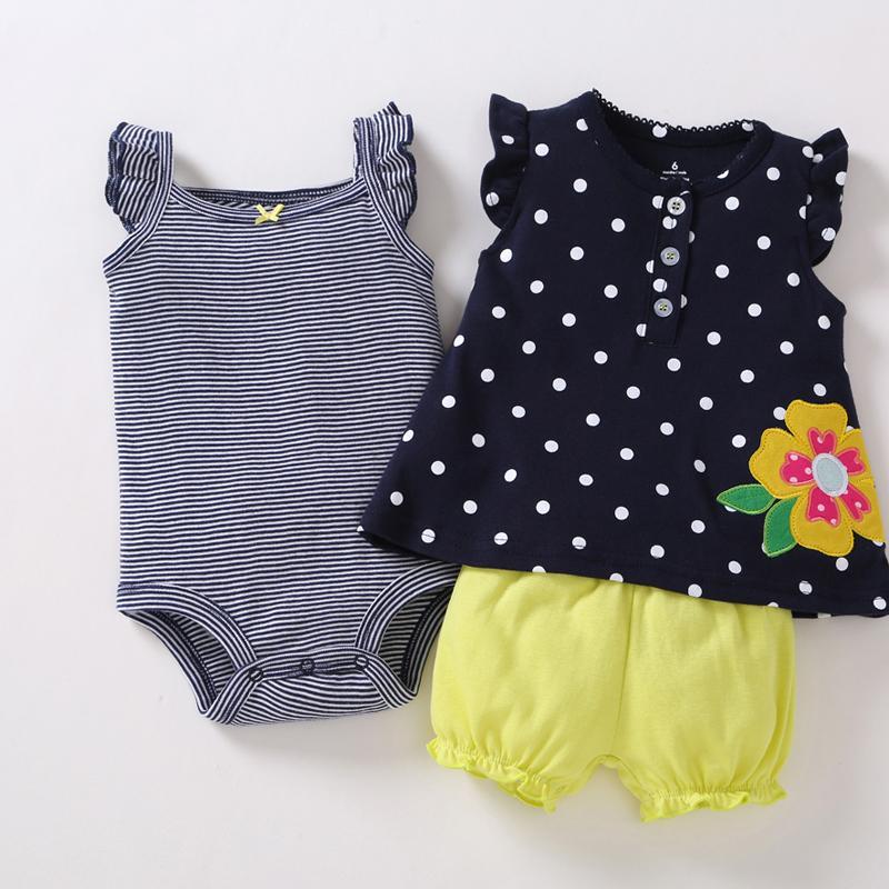 Summer New Born Baby Girl Clothes Set Sleeveless T-shirt Tops Polka Dot Floral+stripe Bodysuit+shorts 3pcs Infant Newborn Outfit J190520
