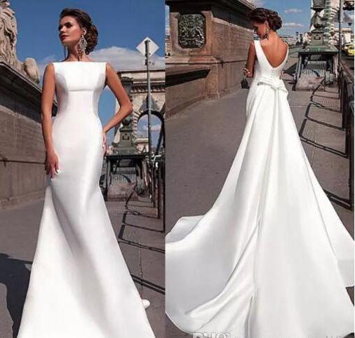 2020 Bianco Charme modesto Bateau scollatura Mermaid Abiti da sposa Abiti da sposa Satin plus size abito da sposa