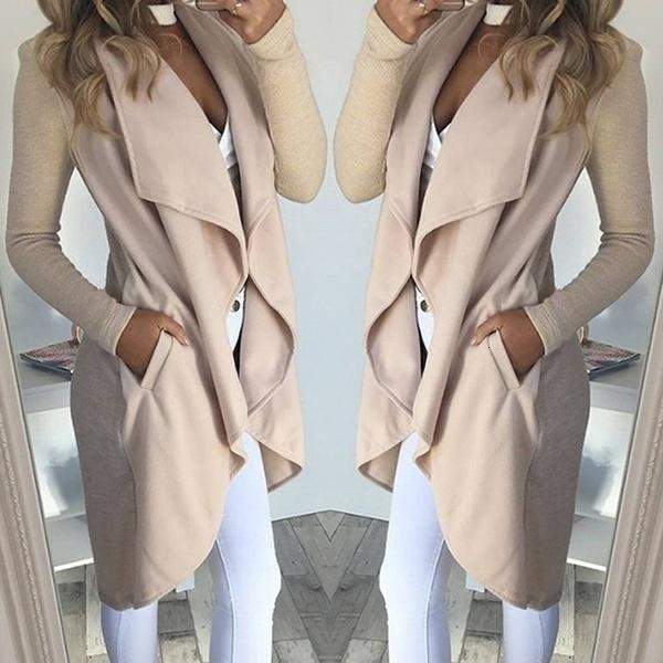 2019 irregular Turn-down Collar Trench Coat mujeres delgadas rebecas para Womens Frauen Modegilet largas rebecas foso de las mujeres V191022