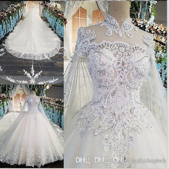 Branco High Neck vestido de baile país vestidos de noiva plus size contas blings 2019 foto real vestidos de noche cetim casamento nupcial downs wrap