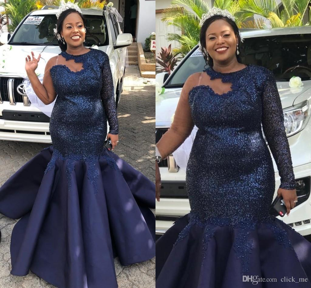 African Plus Size Evening Dresses Sequined Top Appliques Sequins Mermaid Prom Dress One Shoulder Full Sleeves Party Vestidos