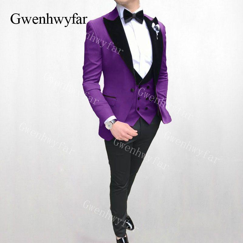 Gwenhwyfar New 3 Piezas Trajes de Boda Para Hombres Trajes de los hombres Slim Fit Formal Caqui Burdeos Verde Púrpura Amarillo Rojo Rojo Hombre Marfil