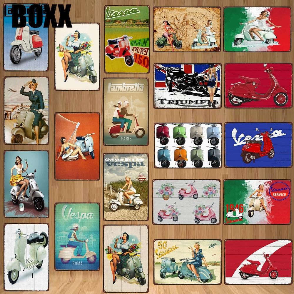 Vespa Scooter Clássico Motocicleta Sinal De Estanho Garagem Placas Metálicas Parede Pub Arte Casa Motor Decoração Poster De Ferro