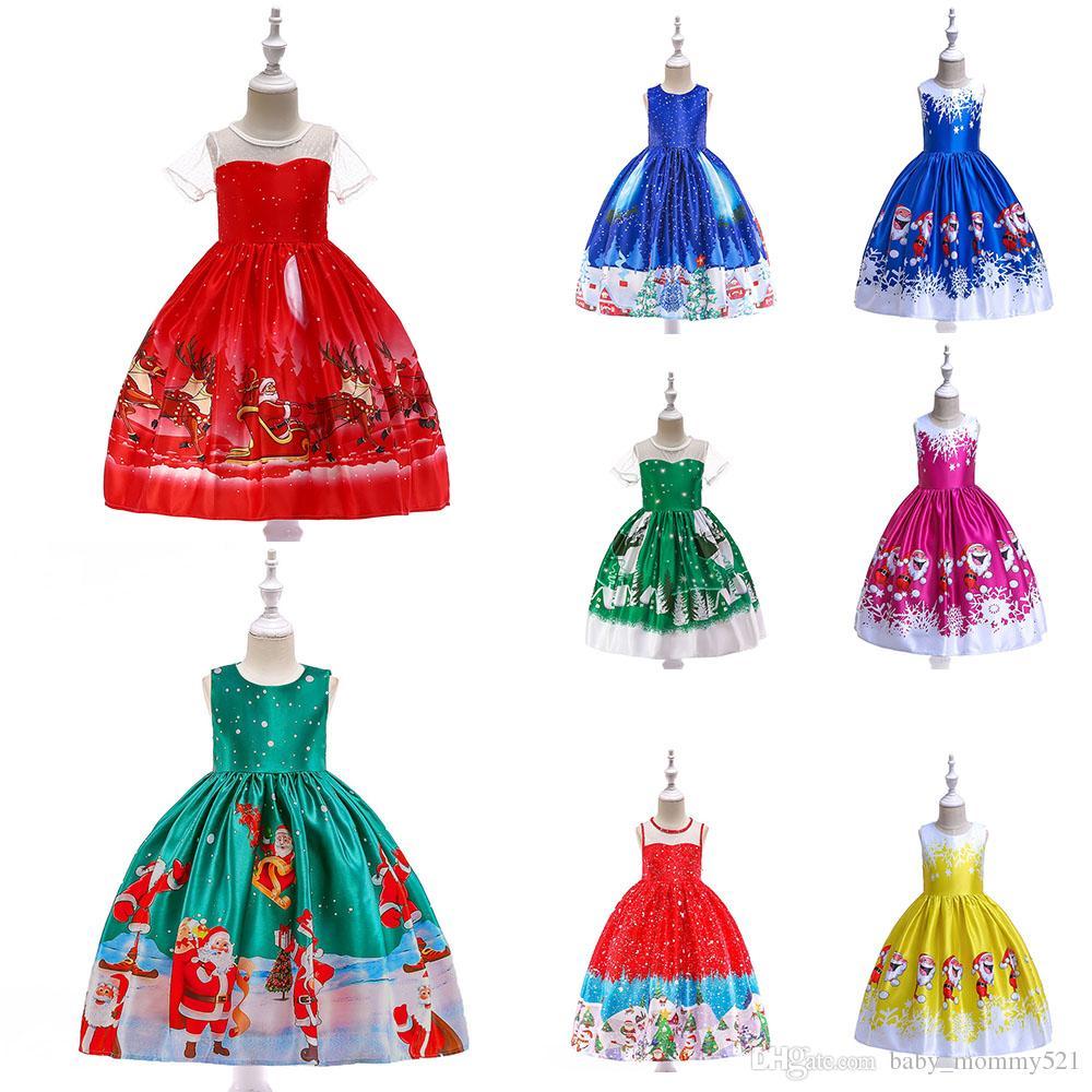 2020 Chegada Nova Flor Meninas Vestem Chirstmas Vestidos Meninas Festa Floral Vestido Impresso Vestido 3-11 Anos Kids Clothing