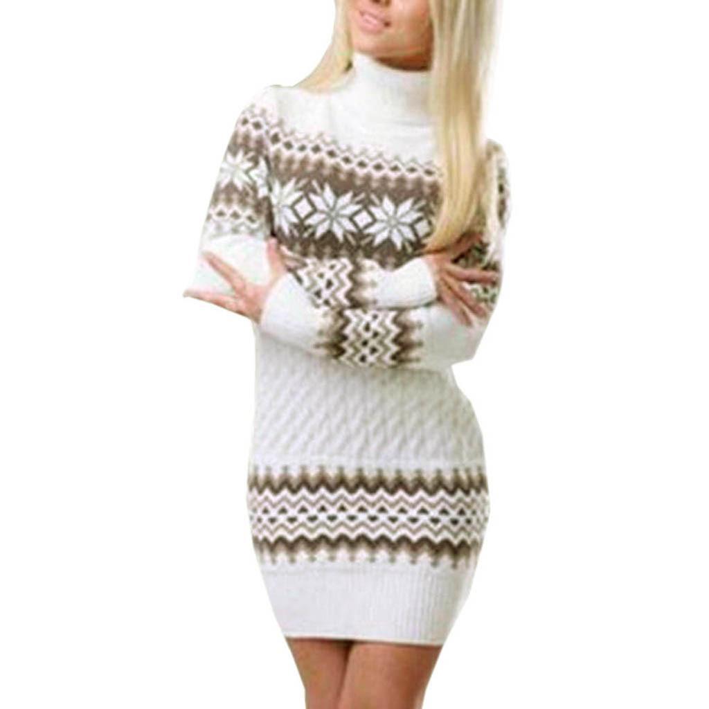 Vestido del suéter mujeres de la manga del copo de nieve larga impresa cuello alto recto invierno poliéster princesa vestido de envío de la gota