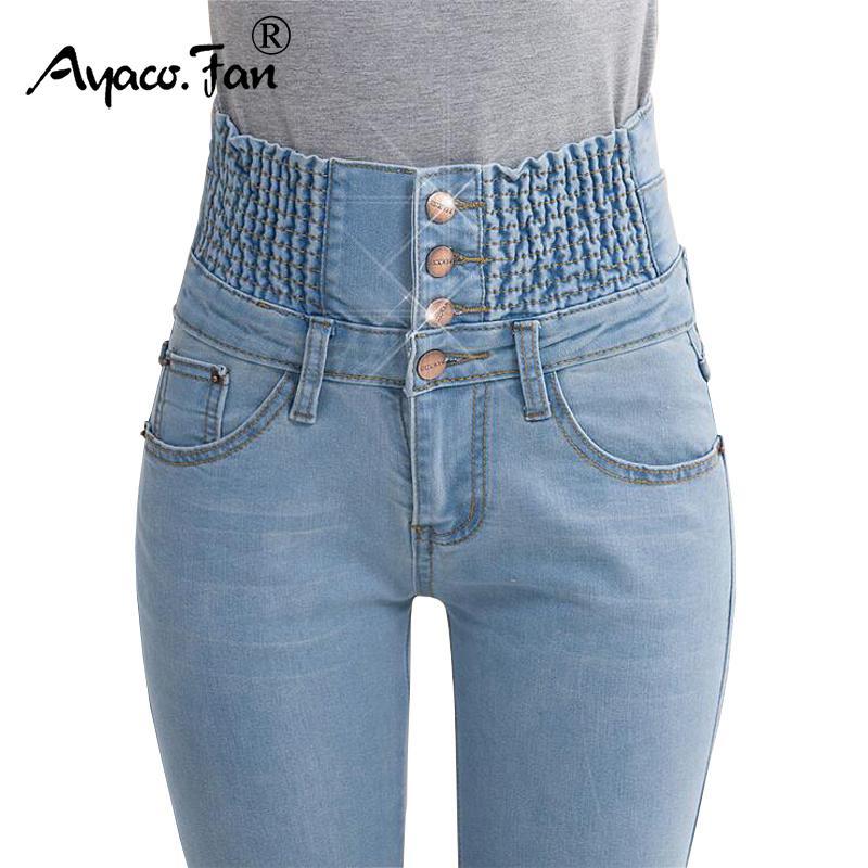 2019 Jeans Womens alta cintura elástica Skinny Denim longo lápis calças Plus Size Mulher de 40 anos Jeans Camisa Feminina Fat Lady Calças LY191202