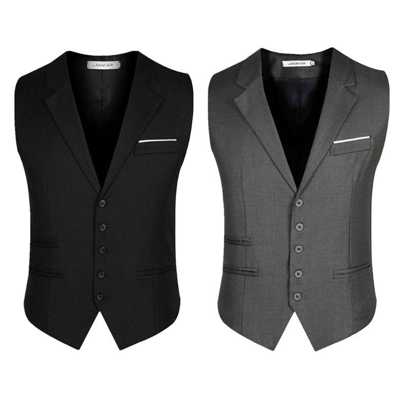 Trendy Botton d'affaires formel Robe Slim Fit Gilet Costume Smoking Gilet Homme