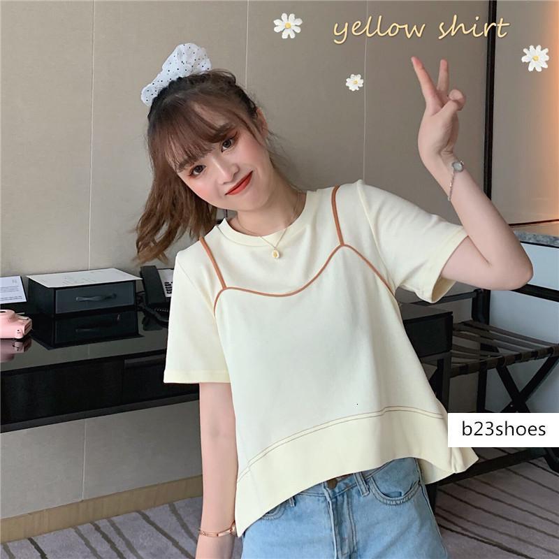 De manga curta T-shirt Verão 2020 novo estilo coreano ins soltas contraste cor da moda estilingue costura falso topo de duas peças das mulheres
