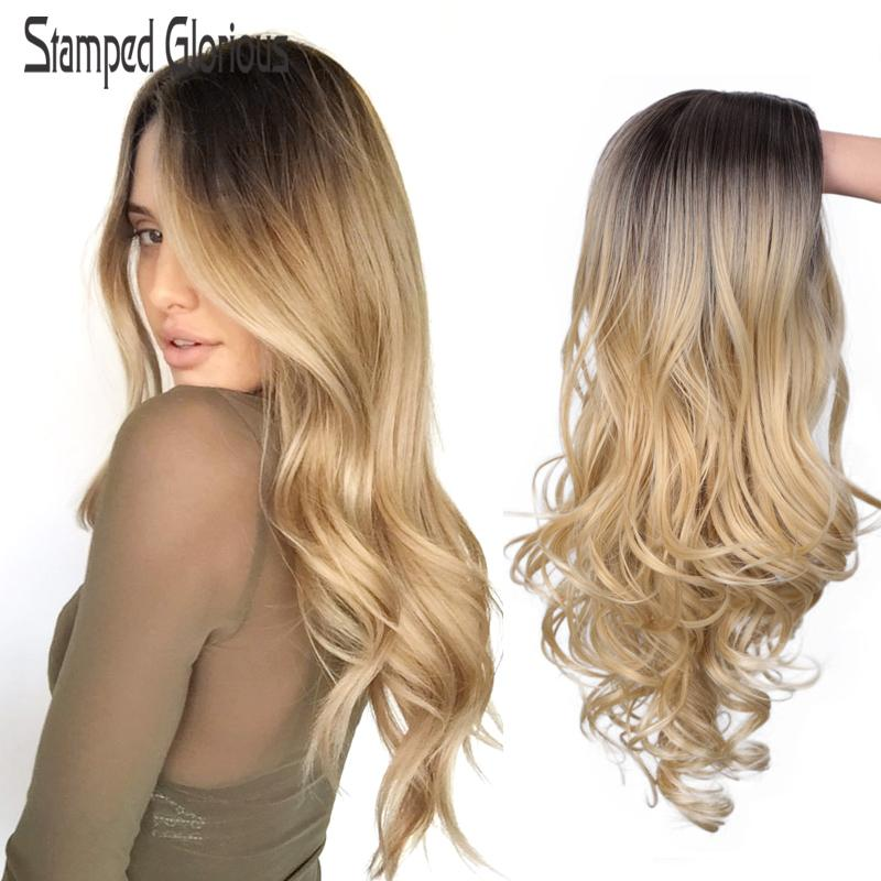 Carimbado Glorioso Synthetic Natural Onda peruca Ombre Preto Loiro ondulado peruca longa para as mulheres de meia Parte cabelo calor fibra resistente