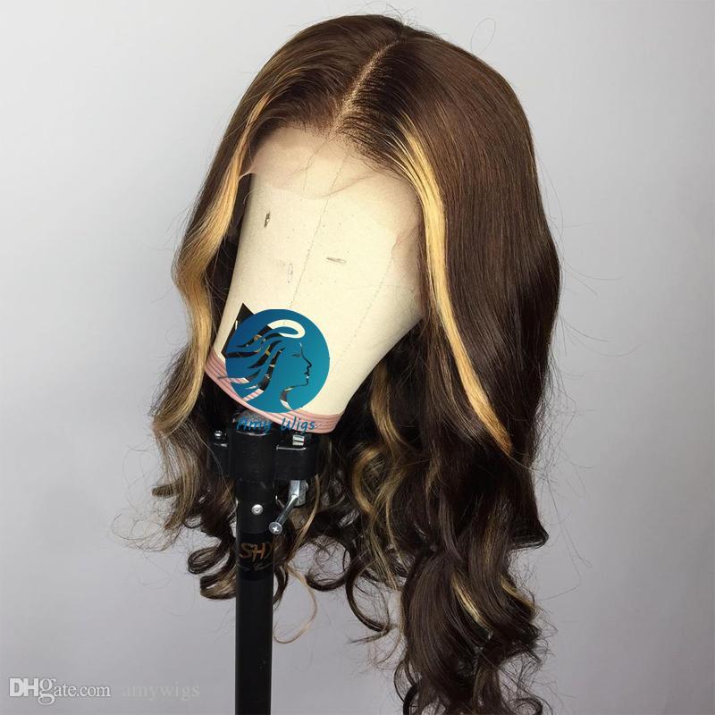 Vurgu İnsan Saç Peruk Bal Sarışın Kahverengi Öncesi Mızraplı Brezilyalı Remy Saç Doğal Peruk İçin Siyah Kadınlar ile Renkli Tam Dantel Peruk Kahverengi