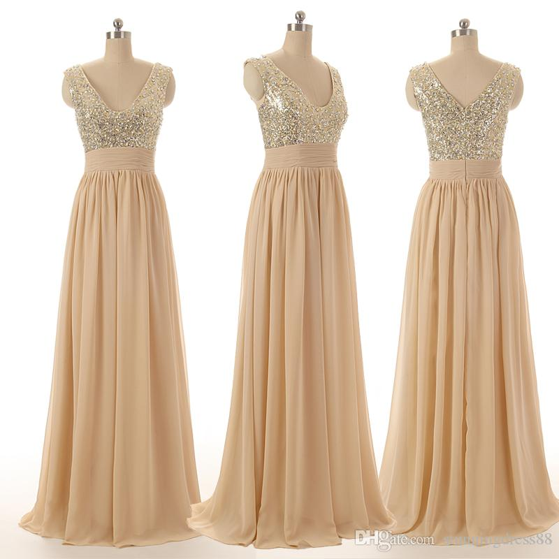 2020 Bling Champagne Sequins Chiffon Evening Bridesmaid Dresses V neck Sheer Straps Crystal Beaded Long Cheap Party Prom Formal Dress Gown