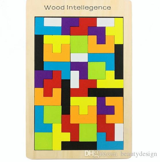 Hızlı Nakliye Ahşap Tetris Oyunu Eğitici Puzzle Oyuncaklar Ahşap Tangram Beyin-Teaser Bulmaca Okul Öncesi Çocuk Çocuk Oyuncak