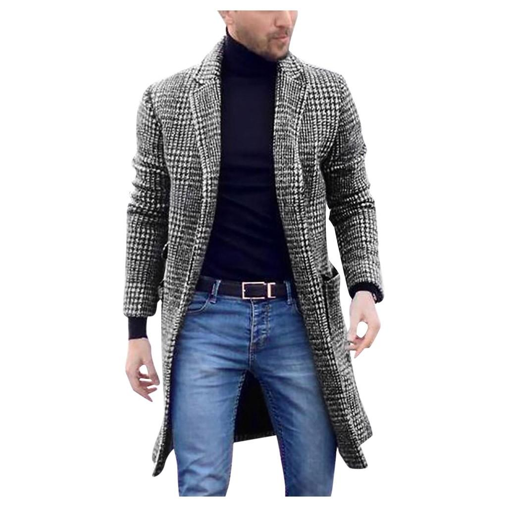 Mens Trench Coat Jacket Cardigan plaid print coat Men Casual Winter Fashion Hounstooth Gentlemen Long Coat Jacket Outwear#g4 MX191118