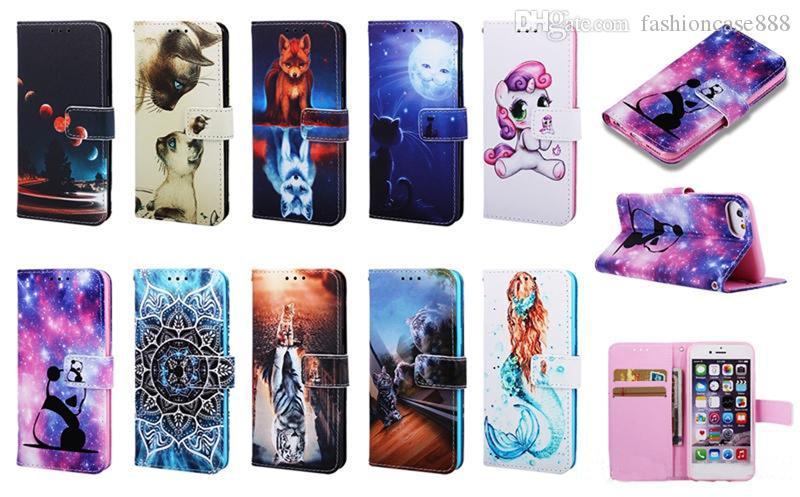De dibujos animados tirón de la carpeta del soporte del cuero caso de la mariposa Tarjeta de la flor de la panda para el iphone 11 pro max 6 7 8 + X XS MAX XR Samsung S20 S10 Plus Ultra