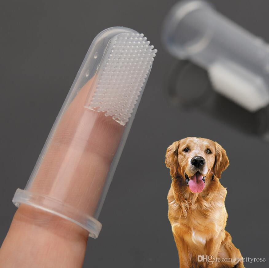 Se admiten fuentes del perro Juguetes de ultra dedo cepillo suave Cepillo de dientes de perro mal aliento Cuidado dental sarro animal doméstico del perro del gato de limpieza del cepillo de dientes del bebé dedo