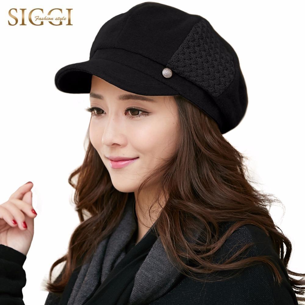 SIGGI misto lana cappelli di inverno delle donne strillone Caps Beret Pittore visiera Casquette Gavroche Vintage Elegante Fashion Gorras 68091 S18101708