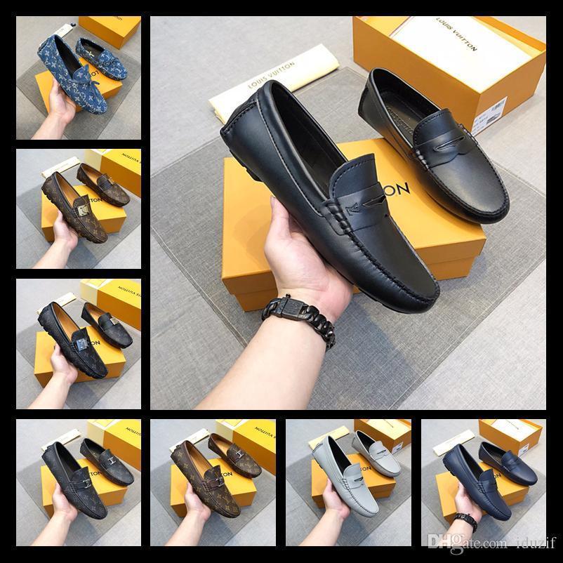 Designer Robe en cuir véritable chaussures Marque de soirée de mariage Hommes Mode Mocassins Business Flats Oxfords Homme Chaussure