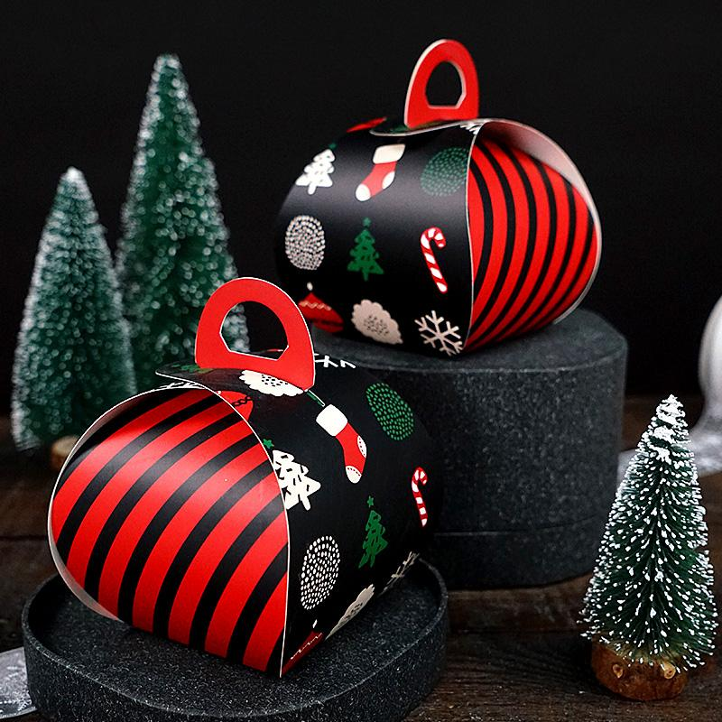 10pcs, Padrão Red Stripe Preto Natal dos doces Gift Box Set, Tote Bag Kindergarten Snack Box Nougat Embalagem Party Decor
