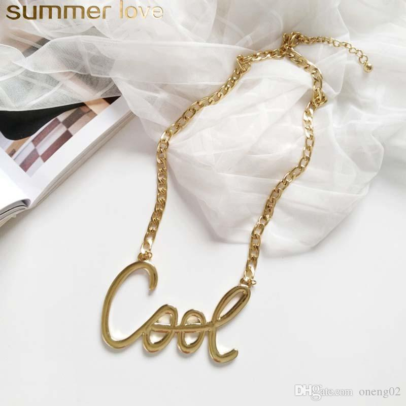 Simple Design Cool Letter Choker Necklace for Women Adjustable Size Gold Chian Necklaces Wholesale Jewelry Gifts