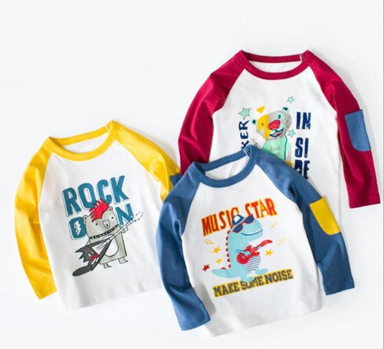 Kışın 3 renk bebek pamuk taban giyim ilkbahar oğlan moda üst kız sevimli uzun kollu t shirt için 2020 çocuk yeni varış tee