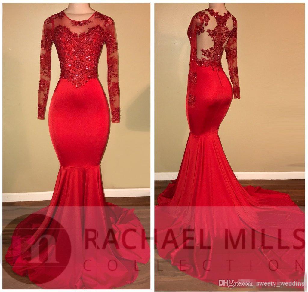 2019 Kırmızı Saten Balo Parti Mermaid Elbiseler Sheer Boyun Aplike Dantel Afrika Siyah Kızlar Artı Boyutu Abiye giyim Kırmızı Halı Elbise Vestido