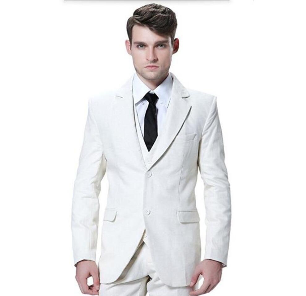 XLY 2019 Tailored mens suits white wedding Groom tuxedos suit fashion handsome groom best man blazer prom dress Tux (jacket+vest+pants)