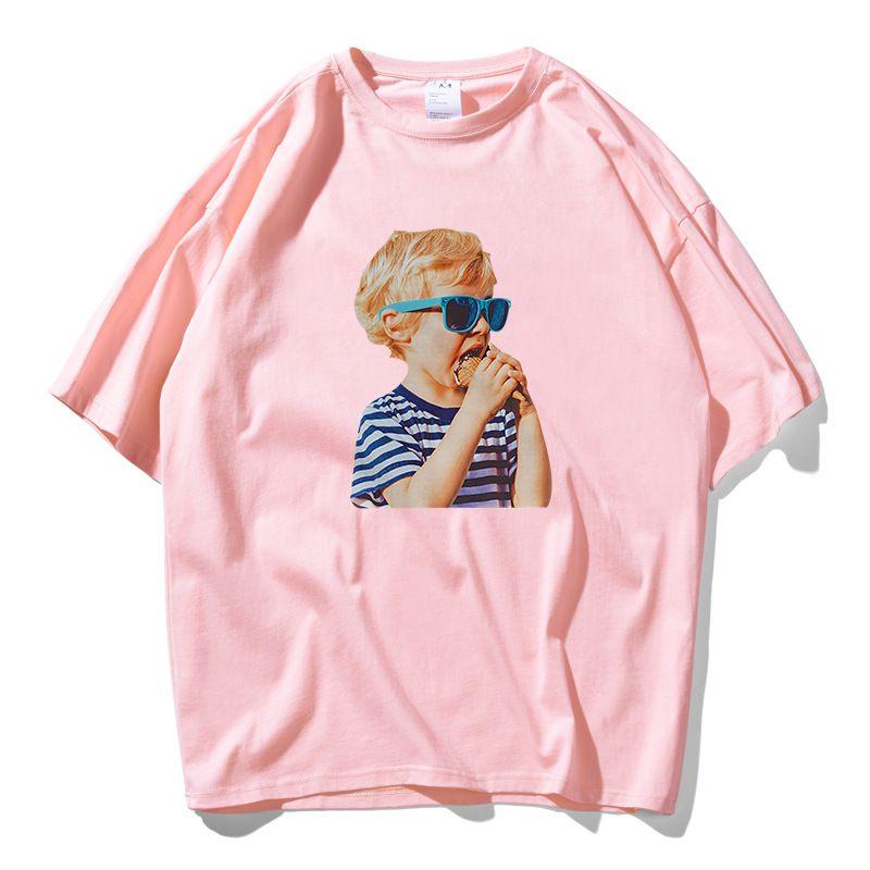 Il nuovo modo INS stile di stampa T-shirt da uomo 100% cotone Lovers Top Tee Skateboard Blu Rosa Rosso T-shirt Donna