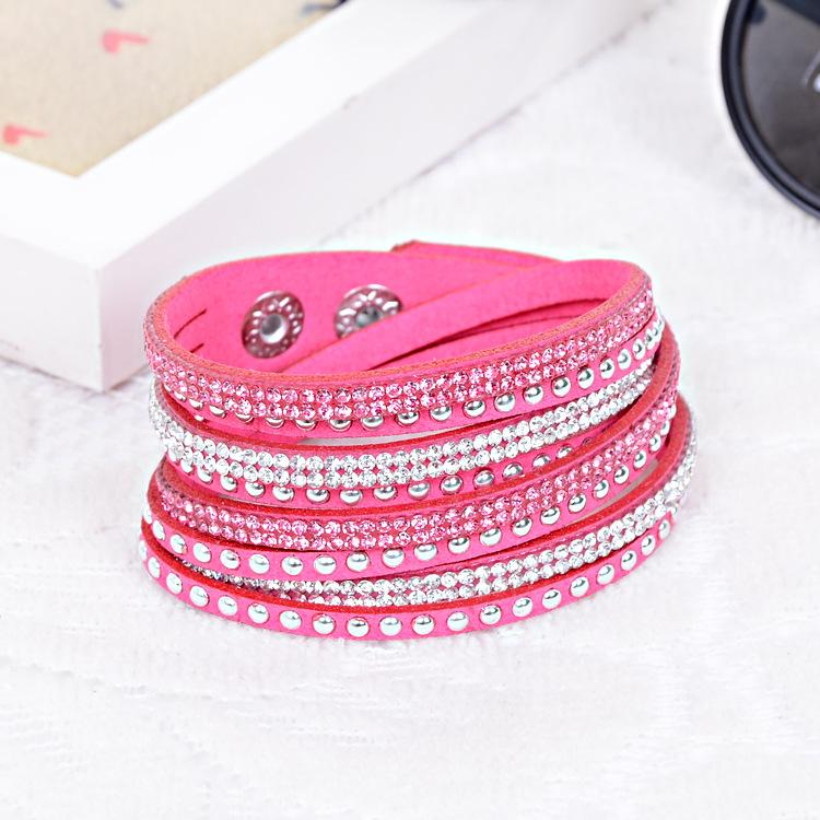 Fashion Slake Deluxe Leather Charm Bangles with Sparkling Multilayer Wrap Bracelet Rhinestone Crystal Wristband Women Christmas Gifts jm002