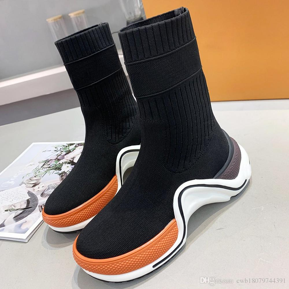 New high-quality designer ladies sports shoes socks high-top boots leather ladies shoes fashion rubber boots women platform shoes with qi