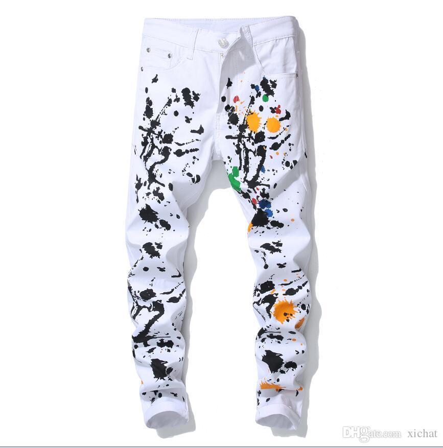 mode de luxe en gros peinture blanc Jeans 2018 New Designer Jeans Slim Fit Famous Brand Jeans Hommes imprimés Pantalon Denim Biker 903