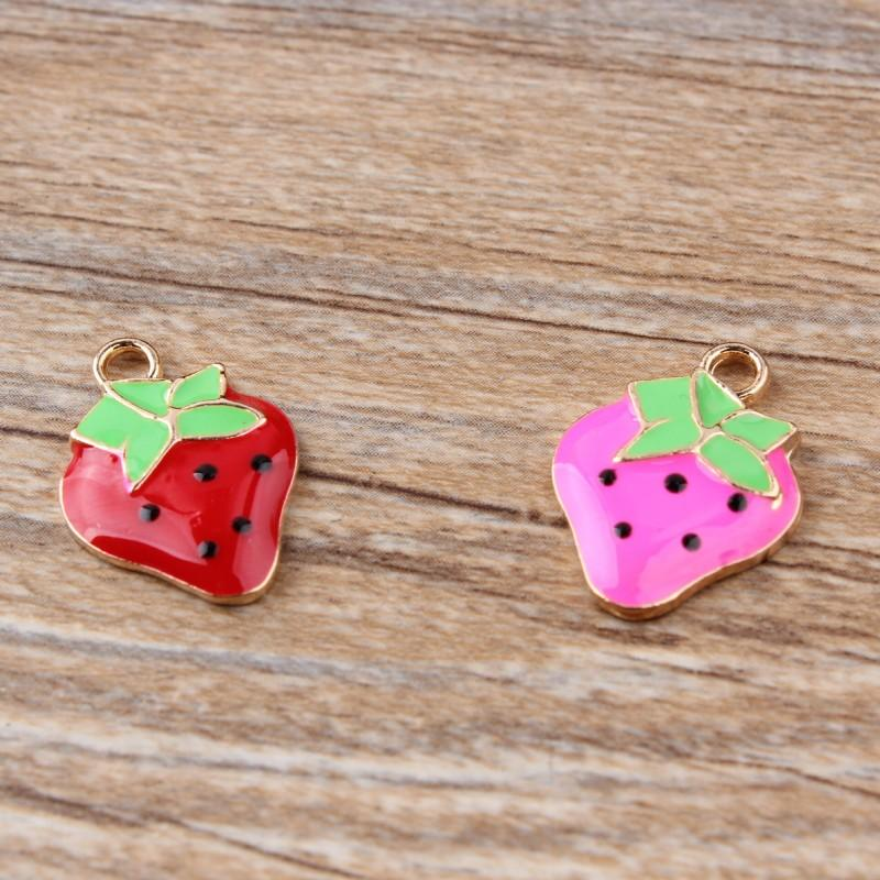 100PCS/ Lot Enamel Cute Strawberry Charms pendant, gold tone plated For Jewelry Making DIY craft 15X22MM