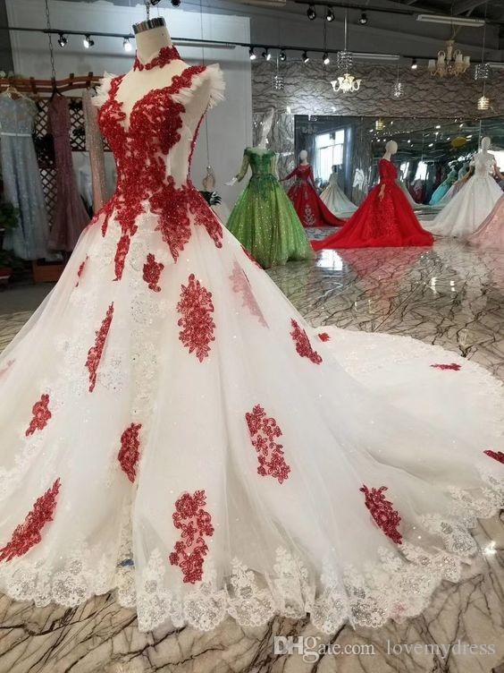 2020 Red Lace White Ball Gown Wedding Dresses High Neck Cap Sleeve Piping Ruched Applique Princess Vestidos De Novia African Bridal Dress Plus Size Wedding Dresses Beach Wedding Dresses From Lovemydress 113 15