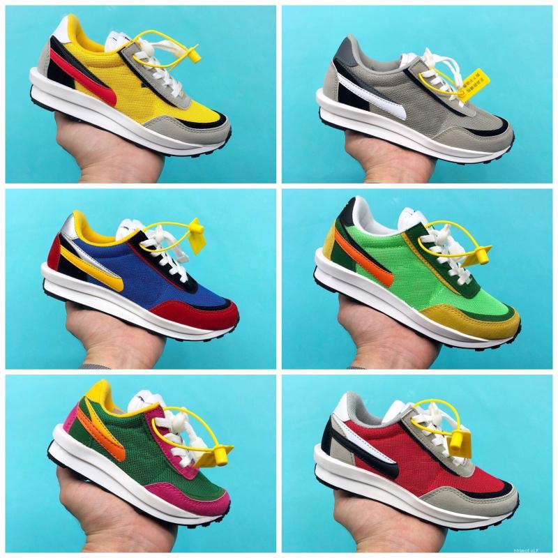Nike X SACAI LD Waffle Chaussures de sport pour enfants LDV Waffle Sacai enfants Chaussures de course Bébé Garçon Fille Parent Enfant Pin Vert Bleu Chaussures Eur24-35