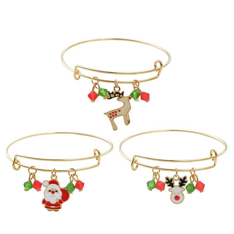 Joyeux Noël cadeau de Noël bonhomme de neige Père Noël cerf Bracelet Nouvel an cadeau de la fourniture de Navidad