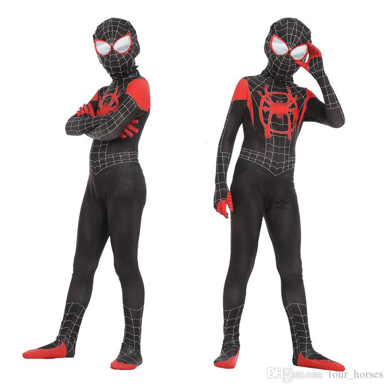 2019 heißen Verkauf-neue Spider-Man enge Kleidung und kleine schwarze Spinne Cosplay Anime Kostüm New Era Spider-Man Paralleluniversum Kid Anzug