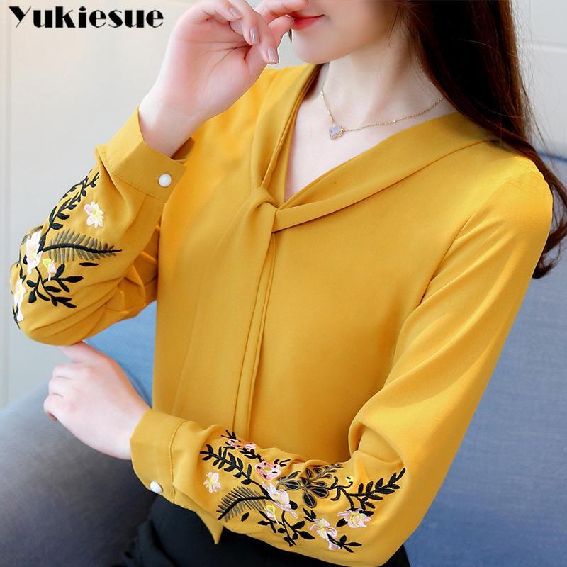 Длинный рукав вышивка шифон блузка Womens Вершины и блузок рубашки 2019 повелительницы офиса рубашки женщины топы blusas женскую блузку