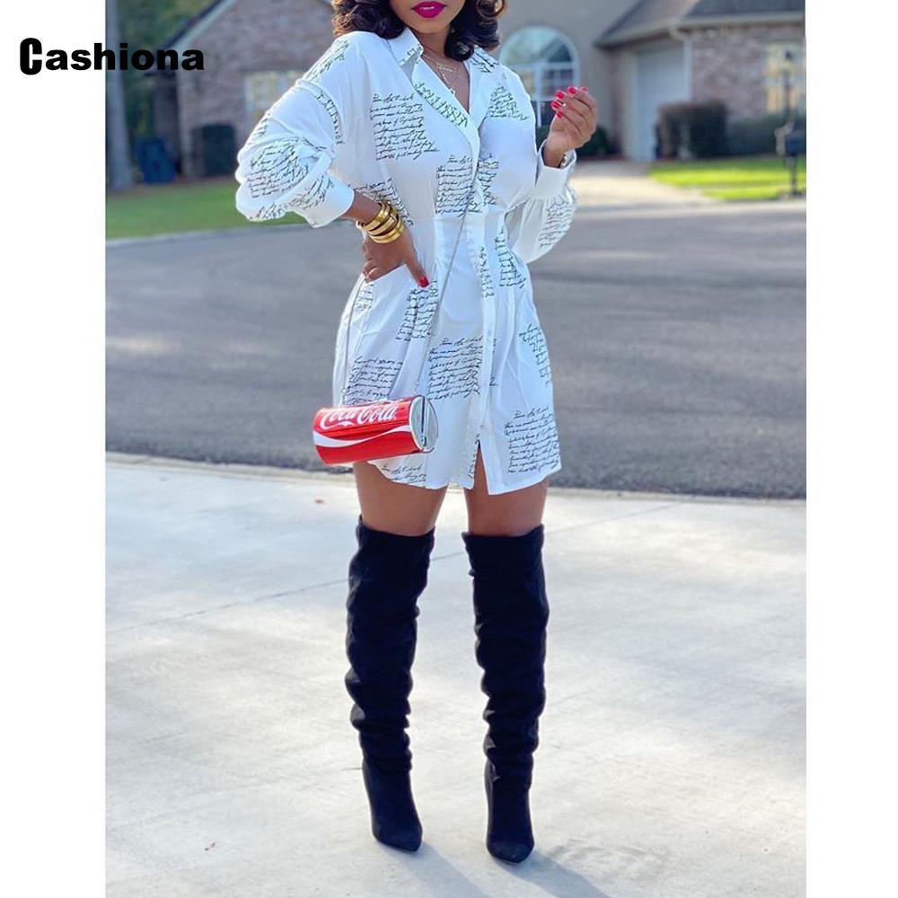 Cashiona 2020 Yaz Kadınlar Uzun Bluz Harf Baskı Streetwear Bayanlar Modeli Tek göğsü Zarif blusas Gömlek Femme Tops