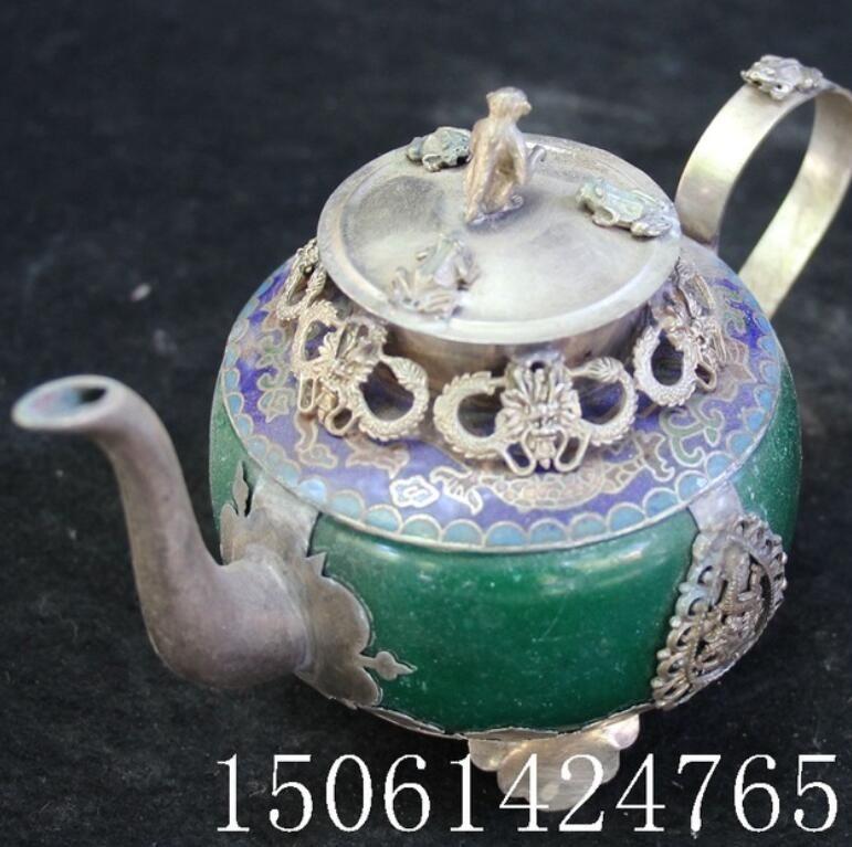 China Oriental Vintage Trabajo a mano Cloisonne Pintura Flor verde jade Tetera