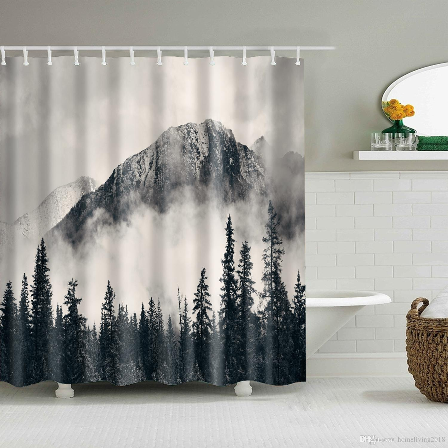 National Parks Shower Curtain Smokey Mountain Cliff Idyllic Photo Art Home Decor
