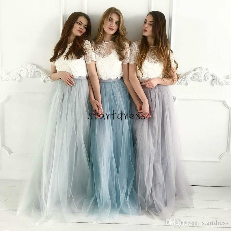 Designer Country Style Two Piece Bridesmaid Dresses With Short Sleeves Lace Floor Length Tulle Skirt Sheer Crew Neck Silver Grey Prom Gowns