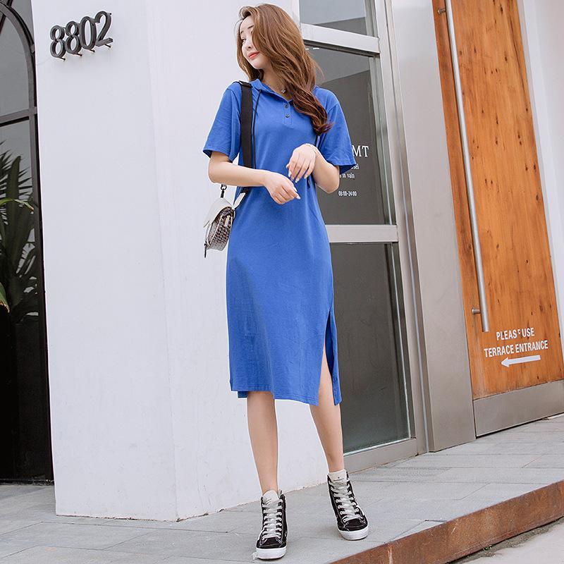 Pop2019 Saia Terno-vestido Até Chapéu De Manga Curta Em Longuette Mulher Vestido De Verão