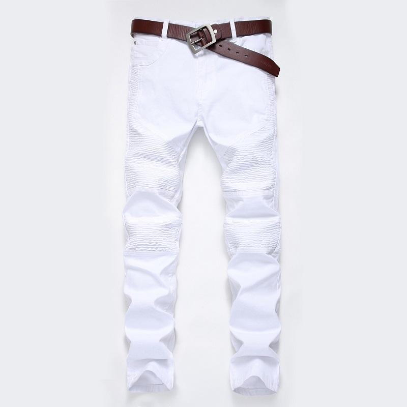 Мужская Европейский Стиль Белый Fold Street High Эластичность Большой размер Тонкий джинсы мужские высокого качества Модные классические джинсы