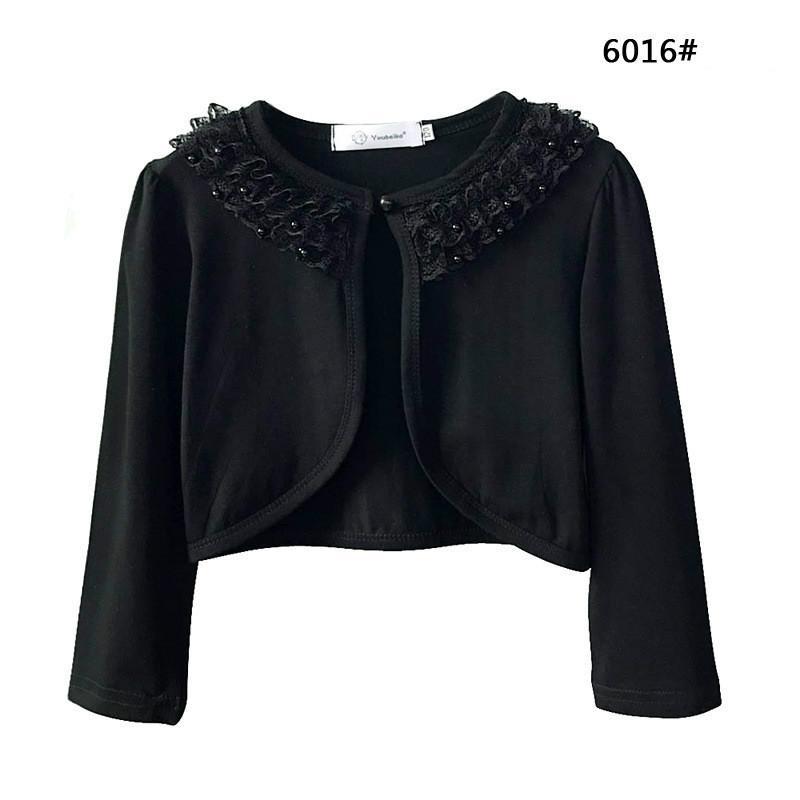 New Baby Girls Bolero Kids Sleeves Lace Cotton Lining Beading Flower Shrug Girl Coat Fashion Toddler Girl Short Jacket