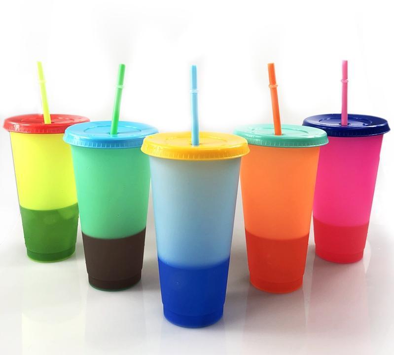 24 oz cambio de color tazas Vasos de beber plásticas con tapa y paja colores del caramelo reutilizable mágicos bebidas frías taza de cerveza taza de café
