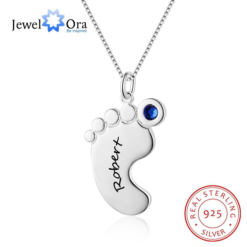 925 Sterling Silver Name Necklace Personalized Necklace Baby Feet Pendant Necklace